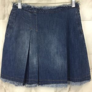 See by Chloé denim mini skirt with fringe trim